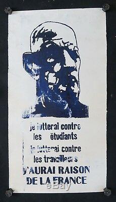 Affiche originale mai 68 J'AURAI RAISON DE LA FRANCE DE GAULLE poster 1968 018