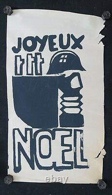 Affiche originale mai 68 JOYEUX NOEL CRS masque à gaz poster may 1968 022