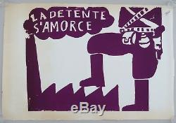 Affiche originale mai 68 LA DETENTE S'AMORCE french poster 1968 129