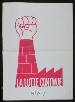 Affiche originale mai 68 LA LUTTE CONTINUE poster 1968 524