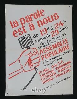 Affiche originale mai 68 LA PAROLE EST A NOUS french poster may 1968 053