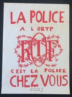 Affiche originale mai 68 LA POLICE A L'ORTF poster 1968 436