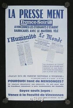 Affiche originale mai 68 LA PRESSE MENT poster may 1968 208