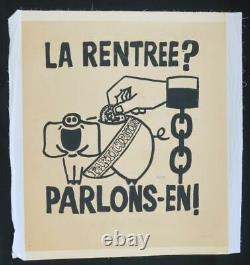 Affiche originale mai 68 LA RENTRÉE PARLONS-EN entoilée poster 1968 328