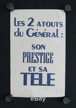 Affiche originale mai 68 LES 2 ATOUTS DU GÉNÉRAL SON PRESTIGE poster 1968 144