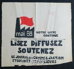 Affiche originale mai 68 LISEZ DIFFUSEZ SOUTENEZ presse poster mai 1968 254