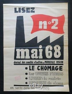 Affiche originale mai 68 LISEZ MAI 68 N°2 MARSEILLE poster may 1968 244