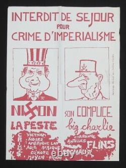 Affiche originale mai 68 NIXON DE GAULLE CRIME D'IMPERIALISME poster 1968 645