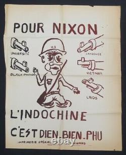 Affiche originale mai 68 NIXON INDOCHINE DIEN BIEN PHU VIETNAM poster 1968 639