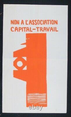 Affiche originale mai 68 NON A L'ASSOCIATION CAPITAL TRAVAIL poster 1968 531