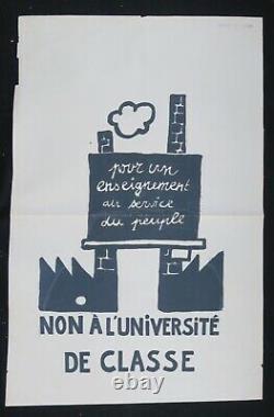 Affiche originale mai 68 NON A L'UNIVERSITE DE CLASSE poster may 1968 532