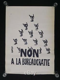 Affiche originale mai 68 NON A LA BUREAUCRATIE poster may 1968 006