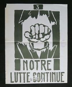 Affiche originale mai 68 NOTRE LUTTE CONTINUE 3 french poster 1968 002