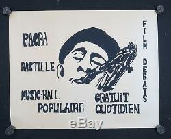 Affiche originale mai 68 PACRA BASTILLE MUSICIEN SAXO poster may 1968 207