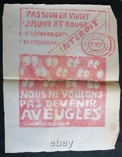 Affiche originale mai 68 PASSION EN VIOLET JAUNE ET ROUGE french poster 1968 159