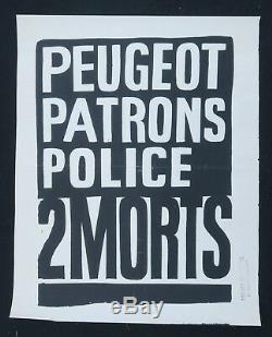 Affiche originale mai 68 PEUGEOT PATRONS POLICE noire french poster may 1968 067