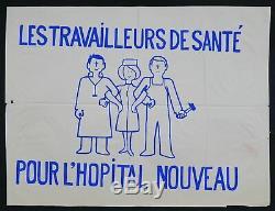 Affiche originale mai 68 POUR UN HÔPITAL NOUVEAU poster 1968 332