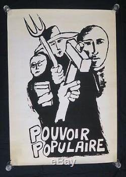 Affiche originale mai 68 POUVOIR POPULAIRE noir poster may 1968 072