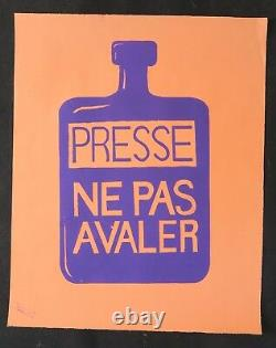 Affiche originale mai 68 PRESSE NE PAS AVALER papier orange poster may 1968 093