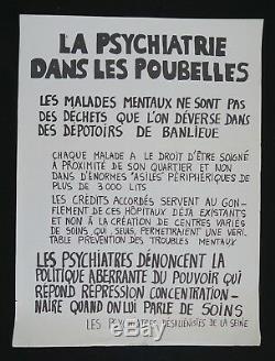 Affiche originale mai 68 PSYCHIATRIE DANS LES POUBELLES french poster 1968 051
