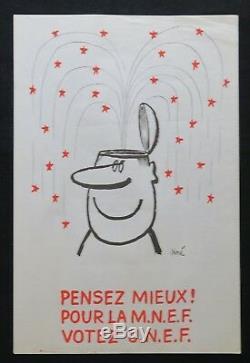 Affiche originale mai 68 Pensez mieux MNEF votez UNEF Siné poster may 1968 272