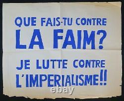 Affiche originale mai 68 QUE FAIS-TU CONTRE LA FAIM IMPERIALISME poster 1968 461