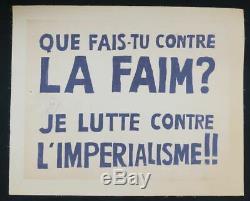 Affiche originale mai 68 QUE FAIS-TU CONTRE LA FAIM entoilée poster 1968 319