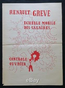 Affiche originale mai 68 RENAULT GREVE OUVRIER ENGRENAGE poster may 1968 276