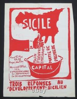 Affiche originale mai 68 SICILE CAPITAL ITALIE poster may 1968 638