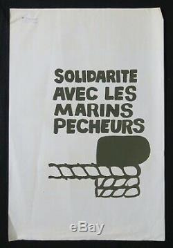 Affiche originale mai 68 SOLIDARITÉ AVEC LES MARINS PÊCHEURS poster may 1968 406