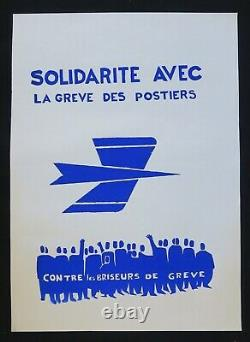 Affiche originale mai 68 SOLIDARITÉ AVEC LES POSTIERS french poster 1968 119
