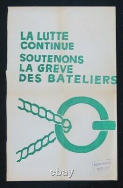 Affiche originale mai 68 SOUTENONS LA GREVE DES BATELIERS poster 1968 498