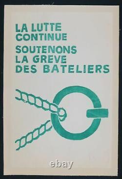 Affiche originale mai 68 SOUTENONS LES BATELIERS entoilée poster 1968 322