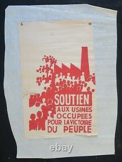 Affiche originale mai 68 SOUTIEN AUX USINES OCCUPEES poster may 1968 450