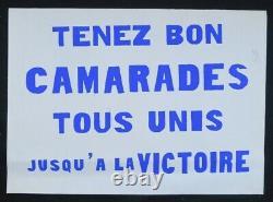 Affiche originale mai 68 TENEZ BON CAMARADES TOUS UNI poster 1968 491