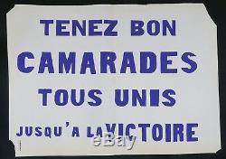 Affiche originale mai 68 TENEZ BON CAMARADES TOUS UNIS french poster 1968 166