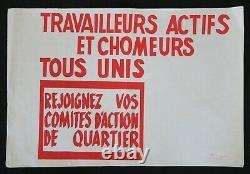 Affiche originale mai 68 TRAVAILLEURS ACTIFS CHOMEURS QUARTIER poster 1968 587