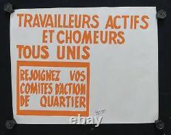 Affiche originale mai 68 TRAVAILLEURS ACTIFS TOUS UNIS poster may 1968 013