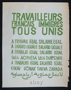 Affiche originale mai 68 TRAVAILLEURS FRANCAIS IMMIGRES TOUS UNI poster 1968 500