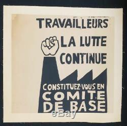 Affiche originale mai 68 TRAVAILLEURS LA LUTTE CONTINUE entoilée poster 1968 327