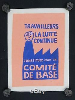 Affiche originale mai 68 TRAVAILLEURS LA LUTTE CONTINUE poster may 1968 213