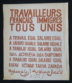 Affiche originale mai 68 TRAVAILLEURS TOUS UNIS marron french poster 1968 036