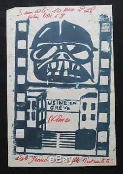 Affiche originale mai 68 USINE EN GREVE FILM NIMES marron poster may 1968 287
