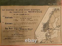 Affiche originale train PLM 1900 Norvège chemin fer Stavkirke Gol Norway poster