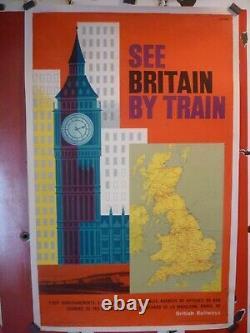 Affiche poster British rail Britain train Londres entoilée originale vers 1960