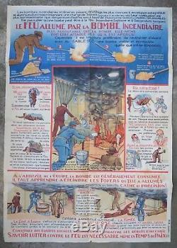 Affiche poster original BOMBE INCENDIAIRE incendie pompier LECLERC fireman