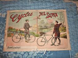 Ancienne Affiche Originale Vélo Cycles Nil Supra Ch Verneau Paris Old Poster