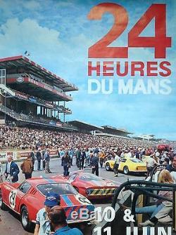Andre Delourmel Affiche Originale Auto 24 Heures Du Mans 1967 Vintage Poster