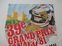 Ao951 F1 Original Affiche 39eme Grand Prix De Monaco 28/31 Mai 1981 Bon Etat