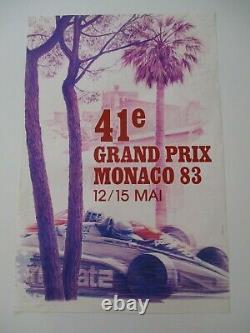 Ao953 F1 Original Affiche 41eme Grand Prix De Monaco 12/15 Mai 1983 Etat Moyen